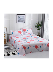 Deals4Less 3-Piece Floral Design Bedding Set, 1 Flat Sheet + 2 Pillow Covers, Orange/White, King/Queen/Double