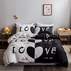 Deals For Less 6-Piece Love Design Bedding Set, 1 Duvet Cover + 1 Fitted Bedsheet + 4 Pillow Covers, Black/White, King