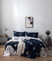 Deals For Less 6-Piece Galaxy Design Bedding Set, 1 Duvet Cover + 1 Flat Bed Sheet + 4 Pillow Covers, White/Blue, Double
