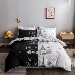 Deals For Less 6-Piece Paris Design Bedding Set, 1 Duvet Cover + 1 Fitted Bedsheet + 4 Pillow Covers, Black/White, King