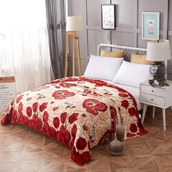 Deals for Less Flower Design Soft Fleece Blanket, Red/Beige, Double