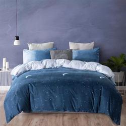 Deals For Less 6-Pieces Ombre Design Bedding Set, 1 Duvet Cover + 1 Flat Bedsheet + 4 Pillow Covers, Blue/White, Double/Queen