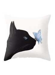 Deals for Less Black Cat & Butterfly Design Decorative Cushion Cover, Multicolour