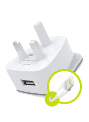 Heatz ZAI07 Single Port Adapter Wall Charger, 2.2A with Lightning to USB Charge Cable, White