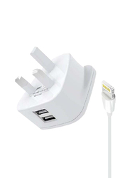 Heatz ZAI08 Double Port Adapter Wall Charger, 2.4A with Lightning to USB Charge Cable, White