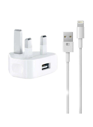 Heatz ZA512 Single Port Adapter Wall Charger, 2.2A with Lightning to USB Charge Cable, White