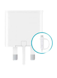 Heatz ZA217 Single Port Adapter Wall Charger, 2.0A with Micro USB/USB Type-C to USB Charge Cable, White