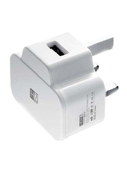 Heatz ZA017 Single Port Adapter Wall Charger, 2.1A USB Port, White