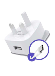 Heatz ZAT07 Single Port Adapter Wall Charger, 2.2A with USB Type-C to USB Charge Cable, White