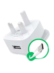 Heatz ZAS07 Single Port Adapter Wall Charger, 2.2A with Micro USB to USB Charge Cable, White