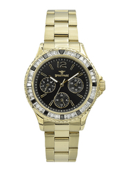 Spectrum Analog Watch for Women, with Stainless Steel Band and Chronograph, S25184L-2, Gold-Black