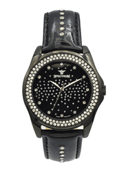 Spectrum Analog Watch for Women, with Leather Band, S12431L-4, Black