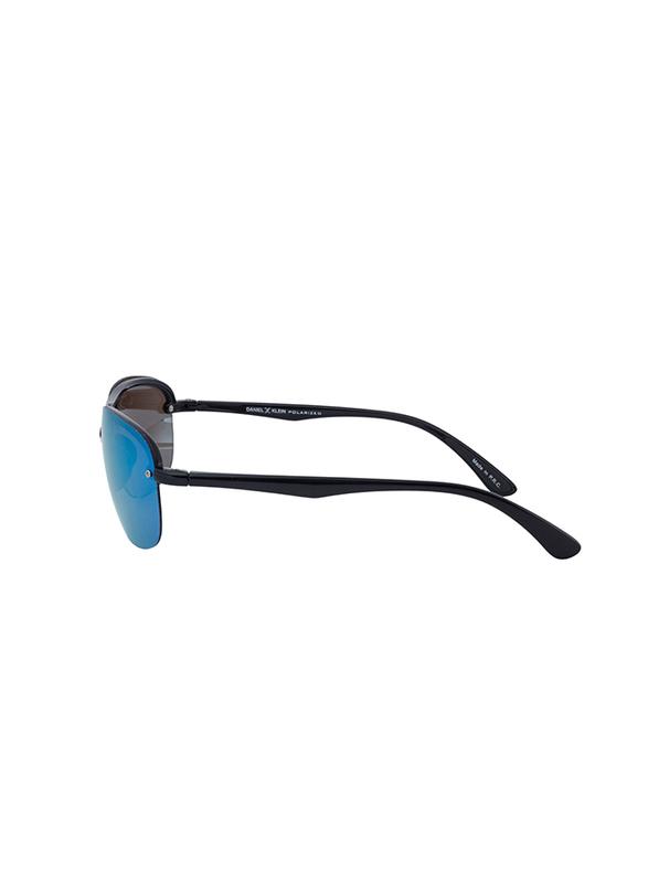 Daniel Klein Polarized Aviator Half-Rim Black Frame Sunglasses for Men, Mirrored Blue Lens, DK3165C, 60/15/130