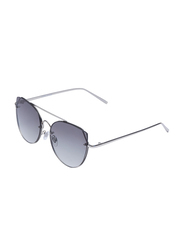 Daniel Klein Polarized Cat Eye Full Rim Silver Frame Sunglasses for Women, Grey Lens, DK4280PC, 58/18/145