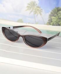 Daniel Klein Polarized Cat Eye Full Rim Brown Frame Sunglasses for Women, Black Lens, DK4272C, 50/16/140