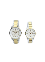 Spectrum Inventor Analog Unisex Couple Watches, with Stainless Steel Band, 12547L, Silver/Gold-White