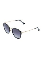Daniel Klein Polarized Oval Full Rim Golden Frame Sunglasses for Women, Indigo Lens, DK4254C, 50/15/150