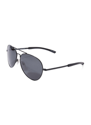Daniel Klein Polarized Aviator Full-Rim Black Frame Sunglasses for Men, Grey Lens, DK3177C, 56/10/140