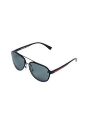 Daniel Klein Polarized Aviator Full-Rim Black Frame Sunglasses for Men, Black Lens, DK3200C, 58/15/140