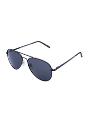 Daniel Klein Polarized Aviator Full-Rim Black Frame Sunglasses for Men, Grey Lens, DK3178C, 52/10/130