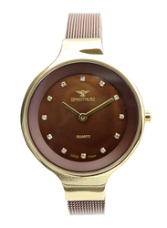 Spectrum Creative Analog Watch for Women, with Mesh Band, S11103L-7, Brown-Brown/Gold