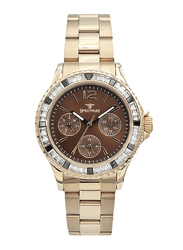 Spectrum Analog Watch for Women, with Stainless Steel Band and Chronograph, S25184L-5, Rose Gold-Brown