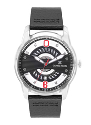 Daniel Klein Analog Watch for Men, with Leather Band and Water Resistant, DK12155-5, Black-Silver