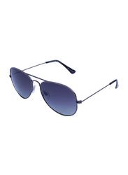Daniel Klein Polarized Aviator Full-Rim Black Frame Sunglasses for Men, Blue Lens, DK3053C, 55/20/130