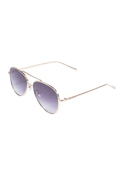 Daniel Klein Aviator Full Rim Gold Frame Sunglasses for Women, Indigo Lens, DK4262PC, 55/20/150