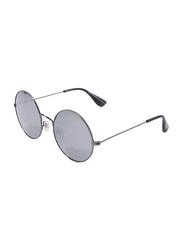 Daniel Klein Polarized Trendy Round Full-Rim Silver Frame Sunglasses for Women, Grey Lens, DK4168C, 54/15/135