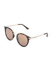 Daniel Klein Polarized Oval Full Rim Tortoise Frame Sunglasses for Women, Brown Lens, DK4187C, 50/16/140