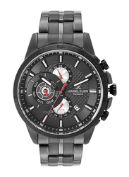 Daniel Klein Analog Watch for Men, with Stainless Steel Band, Water Resistant and Chronograph, DK12126-3, Black