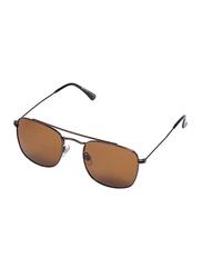 Daniel Klein Polarized Rectangular Full-Rim Rose Gold Frame Sunglasses for Men, Brown Lens, DK3154C, 52/21/130