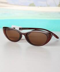 Daniel Klein Polarized Cat Eye Full Rim Brown Frame Sunglasses for Women, Brown Lens, DK4272C, 50/16/140