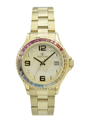 Spectrum Analog Watch for Women, with Stainless Steel Band, S25183L-1, Gold