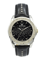 Spectrum Analog Watch for Women, with Leather Band, S12431L-3, Black-Black/Silver