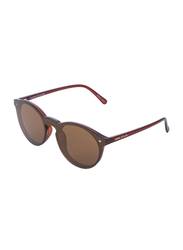 Daniel Klein Trendy Round Full-Rim Brown Frame Sunglasses for Women, Brown Lens, DK4179PC, 56/14/140