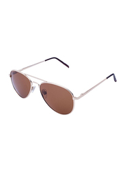 Daniel Klein Polarized Aviator Full-Rim Rose Gold Frame Sunglasses for Men, Brown Lens, DK3178C, 52/10/130