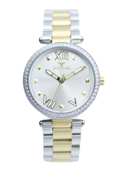 Spectrum Challenger Analog Watch for Women, with Stainless Steel Band, S25171L-3, Silver/Gold-Silver