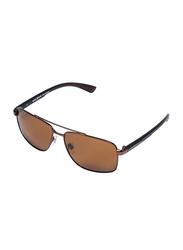 Daniel Klein Polarized Aviator Full-Rim Copper Frame Sunglasses for Men, Brown Lens, DK3193C, 60/21/130
