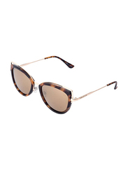 Daniel Klein Polarized Cat Eye Full Rim Gold Frame Sunglasses for Women, Brown Lens, DK4213C, 50/12/130