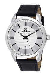 Daniel Klein Analog Watch for Men, with Leather Band and Water Resistant, DK11844, Black-Silver