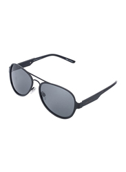 Daniel Klein Polarized Aviator Full-Rim Black Frame Sunglasses for Men, Grey Lens, DK3173C, 56/12/130