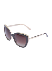 Daniel Klein Polarized Butterfly Full Rim Black Frame Sunglasses for Women, Dark Brown Lens, DK4285C, 56/18/140