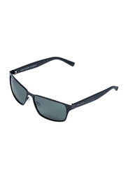 Daniel Klein Polarized Sport Full-Rim Black Frame Sunglasses for Men, Black Lens, DK3187C, 60/20/140