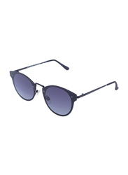 Daniel Klein Polarized Trendy Round Full-Rim Black Frame Sunglasses for Women, Dark Blue Lens, DK4177C, 56/12/130