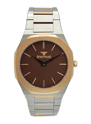 Spectrum Analog Watch for Men, with Stainless Steel Band, S25182M-2, Silver/Rose Gold-Coffee Brown
