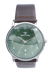 Spectrum Truth Seeker Analog Watch for Men, with Leather Band, S23073M-4, Dark Brown-Green