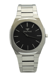 Spectrum Analog Watch for Men, with Stainless Steel Band, S25182M-6, Silver-Black