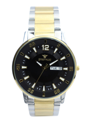 Spectrum Challenger Analog Watch for Men, with Stainless Steel Band, S12561M-2, Silver/Gold-Black